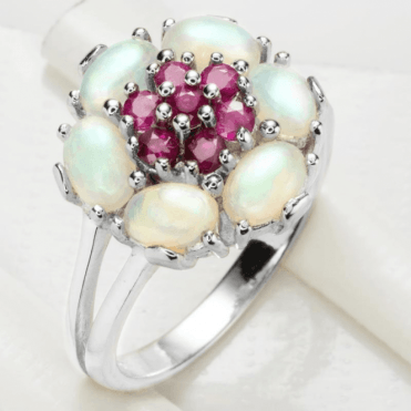 Ladies Shipton and Co Silver and Opal Ring RQA428OPRU