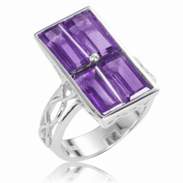 Ladies Shipton and Co Silver and Amethyst Ring RQA450AM