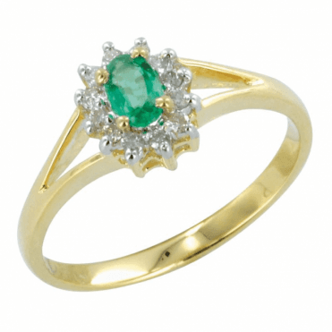 Ladies Shipton and Co Exclusive 9ct Yellow Gold Classic Cluster Split Shoulder Diamond and Emerald Ring RYD061EMD