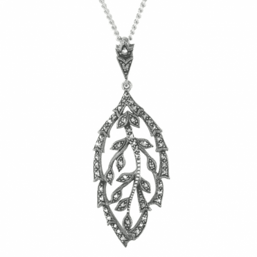 Ladies Shipton and Co Exclusive Silver Winter Leaf Marcasite Pendant including a TPP008MM