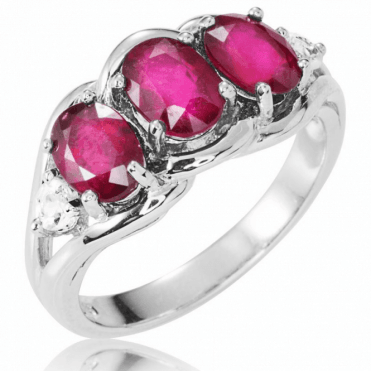 Indulgent 2½ct Ruby Ring with White Topaz - Only £145