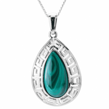 Ladies Shipton and Co Exclusive Silver and Malachite Pendant including a 16 Silver Chain PQA457ML
