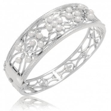 Ladies Shipton and Co Silver and Freshwater Pearls Bangle GQA475FP