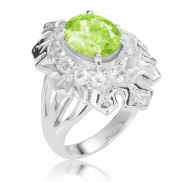 Ladies Shipton and Co Silver and Peridot Ring RQA440PEWT