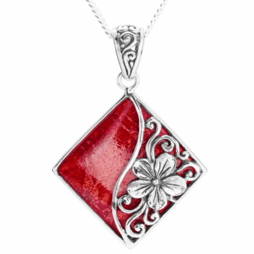 Coral Pendant of Floral Modernity