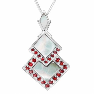 Ladies Shipton and Co Exclusive Silver and Mother of Pearl Pendant including a 16 Silver Chain PQA402PMGR