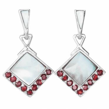 Art Deco Garnet & Mother of Pearl - Earrings