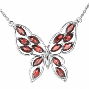 Ladies Shipton and Co Exclusive Silver and Garnet Necklace NQA486GR