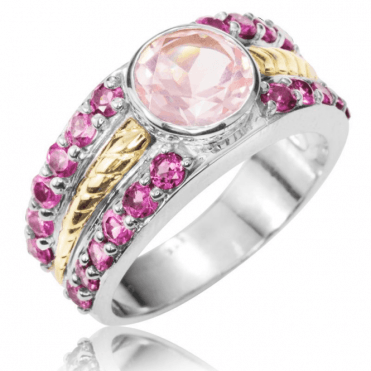 Ladies Shipton and Co Silver and Rose Quartz Ring RQF002RQRH