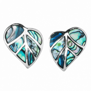 Ladies Shipton and Co Silver and Paua Shell Palm Leaf Earrings TDA167PA