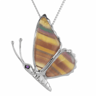 Ladies Shipton and Co Silver and Flourite Butterfly Pendant including a 16 Silver Chain TKW523FL