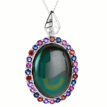 Ladies Shipton and Co Exclusive Silver and Rainbow Obsidian Pendant including a 16 Silver Chain PQA514OBMU