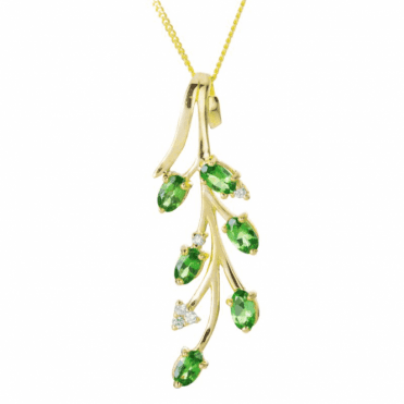 Ladies Shipton and Co 9ct Yellow Gold and Tsavorite Pendant including a 16 9ct Chain PYD126TSD