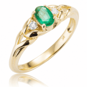Rare Half Carat Zambian Emerald Lit by Diamonds