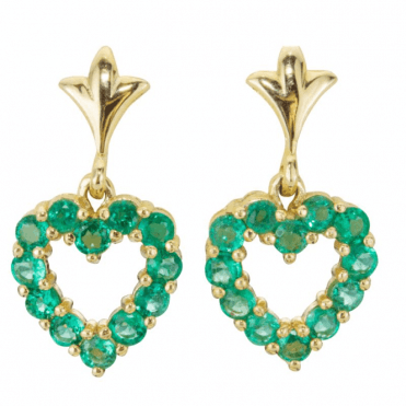 3.6ct Emerald Hearts Set in 9ct Gold Earrings