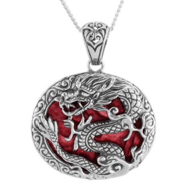 Hand-Carved Silver Dragon with Coral & Paua