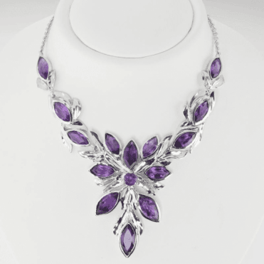 Ladies Shipton and Co Exclusive Silver and Amethyst Necklace NQA510AM