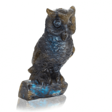 Labradorite Owl with Vivid Flashes of Blue Light