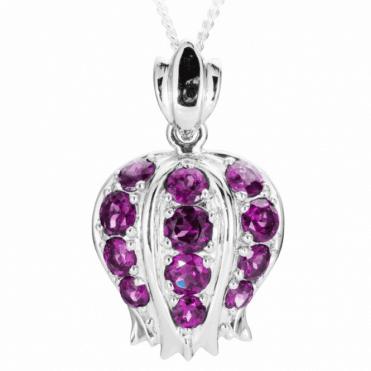 Ladies Shipton and Co Exclusive Silver and Rhodolite Garnet Pomegranate Pendant including a 16 Silver Chain PQA530RH