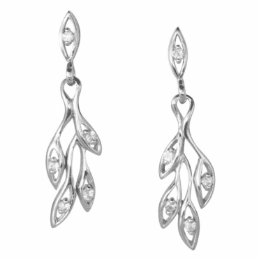 Ladies Shipton and Co Silver and Zircon Peacock Earrings EQA504ZR
