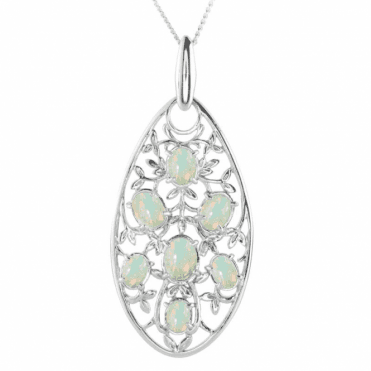 Ladies Shipton and Co Exclusive Silver Leaves and Opal Pendant including a 16 Silver Chain PQA527OP