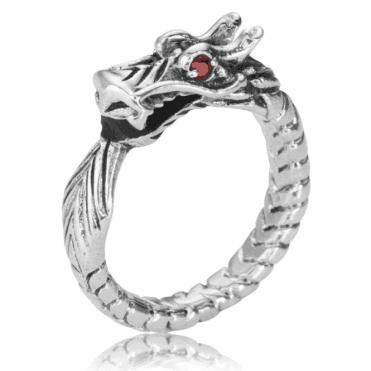 Ladies Shipton and Co Silver and Garnet Dragon Ring TDA164GR