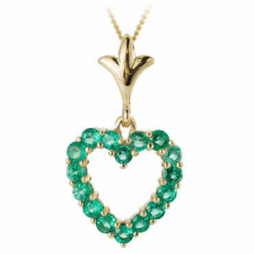 3.6ct Emerald Hearts Set in 9ct Gold Pendant