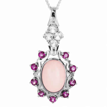 Ladies Shipton and Co Exclusive Silver and 5ct Pink Opal Pendant including a 16 Silver Chain PQA501OPMU