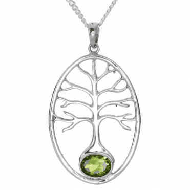 Silver Tree of Life Grounded in Peridot  - Pendant