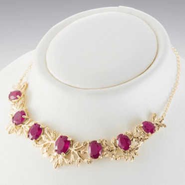 Ladies Shipton and Co Exclusive 9ct Yellow Gold and 10ct Ruby Leaf Necklace NYG060RU