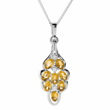 Ladies Shipton and Co Exclusive Silver and 2.5ct Citrine Pendant including a 16 Silver Chain PQA524CIZR