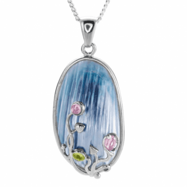 Ladies Shipton and Co Silver and Blue Nautilus Pearls Pendant including a 16 Silver Chain TTL265BPMU