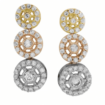 Ladies Shipton and Co 9ct Yellow Gold and Cubic Zirconia Compass Earrings TEM058CZ