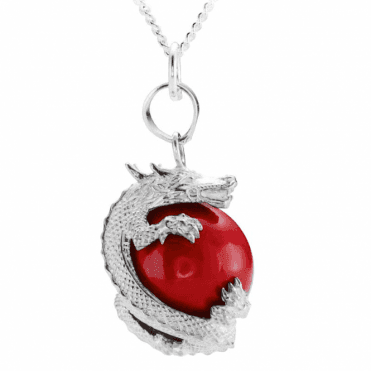 Ladies Shipton and Co Silver and Red Coral Dragon Pendant including a 16 Silver Chain TSS211CL