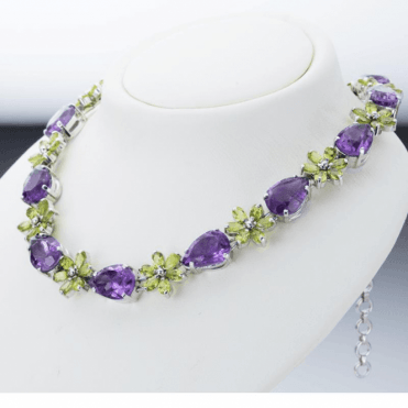 Ladies Shipton and Co Silver and Amethyst Pear Drop and Peridot Flower Necklace TFE142AMPE