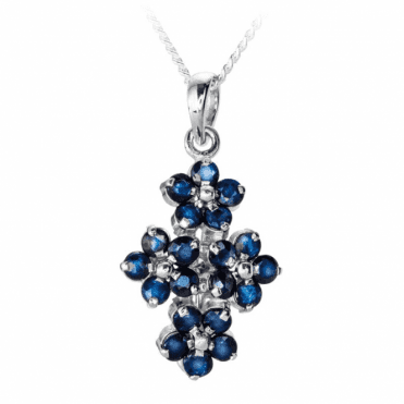 Ladies Shipton and Co Silver and 2.75ct Blue Sapphire Flower Pendant including a 16 Silver Chain TMZ004BS