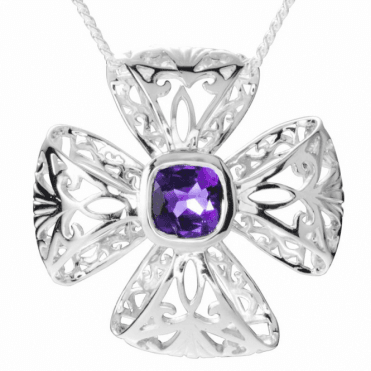 Ladies Shipton and Co Exclusive Silver and 2.5ct Amethyst Pendant including a 16 Silver Chain PQA539AM