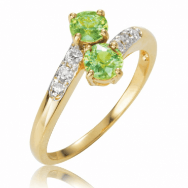 Rare Russian Demantoid & Diamond Ring