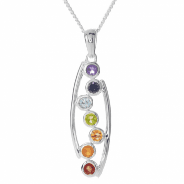 Ladies Shipton and Co Silver and Multiple Stone Pendant including a 16 Silver Chain TJP020MU