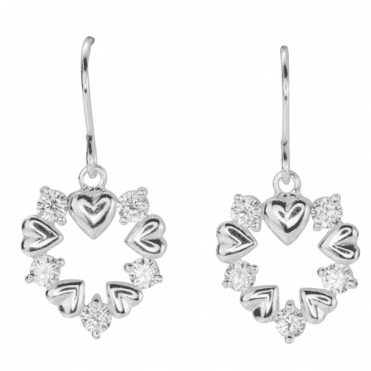 Ladies Shipton and Co Silver and Cubic Zirconia Heart of Hearts Earrings TFE150CZ