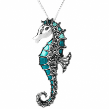 Ladies Shipton and Co Silver and Marcasite Seahorse Pendant including a 16 Silver Chain TFE160MM