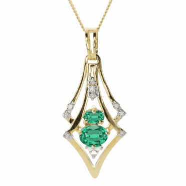 ¾ct of Emeralds with Diamonds in 9ct Gold