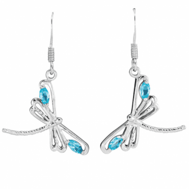 Silver Dragonfly Earrings with Sky Blue Topaz