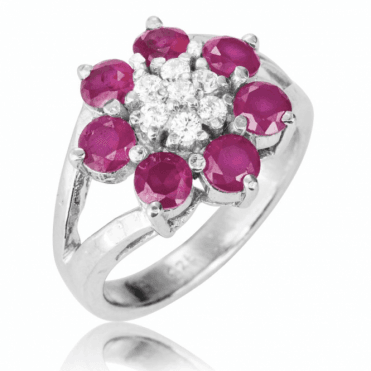 Ladies Shipton and Co Silver and Ruby and White Sapphire Ring TMZ007RUWS