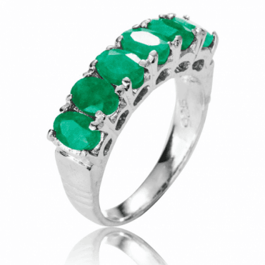 Ladies Shipton and Co Silver and Emerald Half Eternity Ring TFE144EM