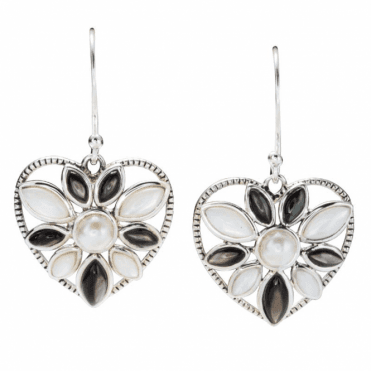 Ladies Shipton and Co Silver and Mother of Pearl Heart Earrings TSV022PMFP