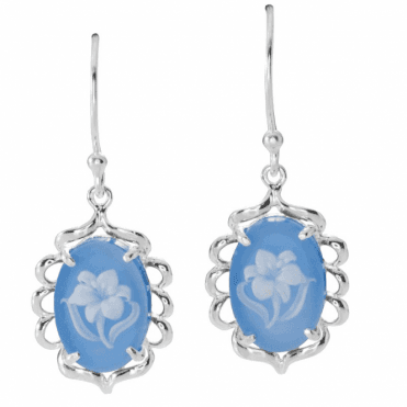 Agate Cameo Earrings of Hand Carved Intricacy