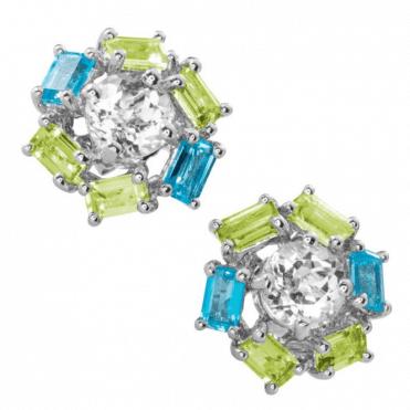 Intriguing Geometry of Peridot & Blue Topaz