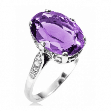 Ladies Shipton and Co Exclusive Silver and Amethyst Ring RQ0114AM