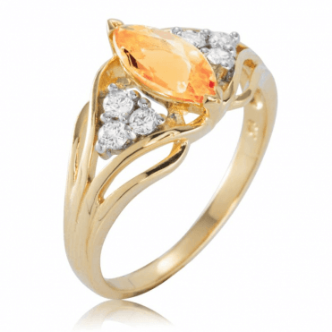 Stone of Fire Imperial Topaz Ring Set with Diamonds